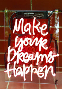 "MAKE YOUR DREAMS HAPPEN Home Decoration Beer Bar Neon Light Sign 11"" x 8"" x 3"" (100-240v) Free Shipping Worldwide"