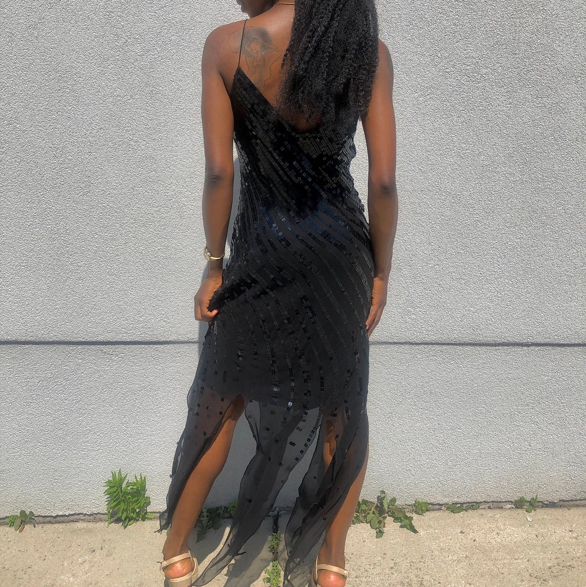 Black Sequin Evening Dress