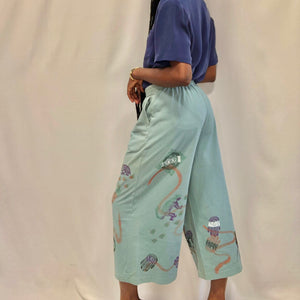 Blue Hand Painted Culottes