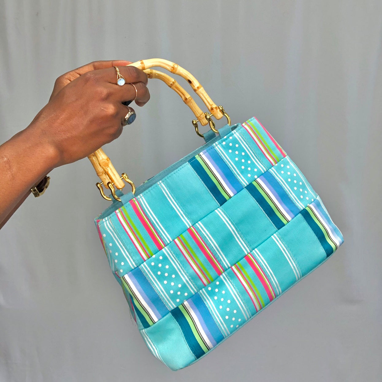 Blue Colorful Patterned Purse