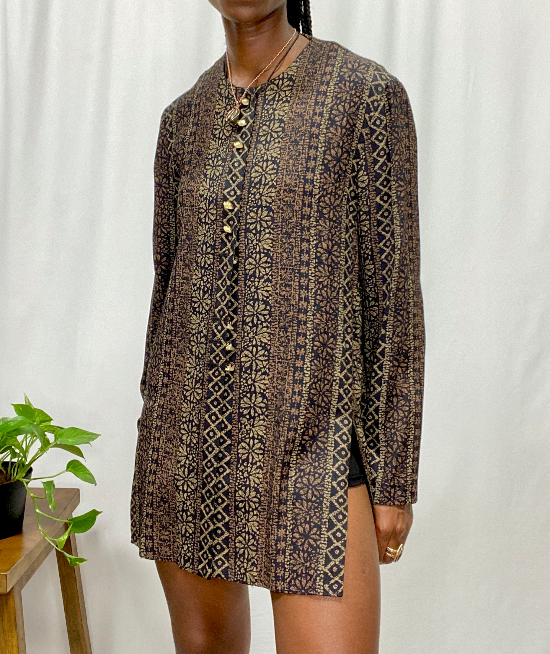 Brown & Black Printed Button Up Blouse