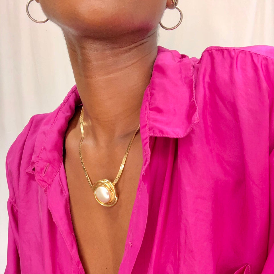 Gold Necklace with Pearl Pendant