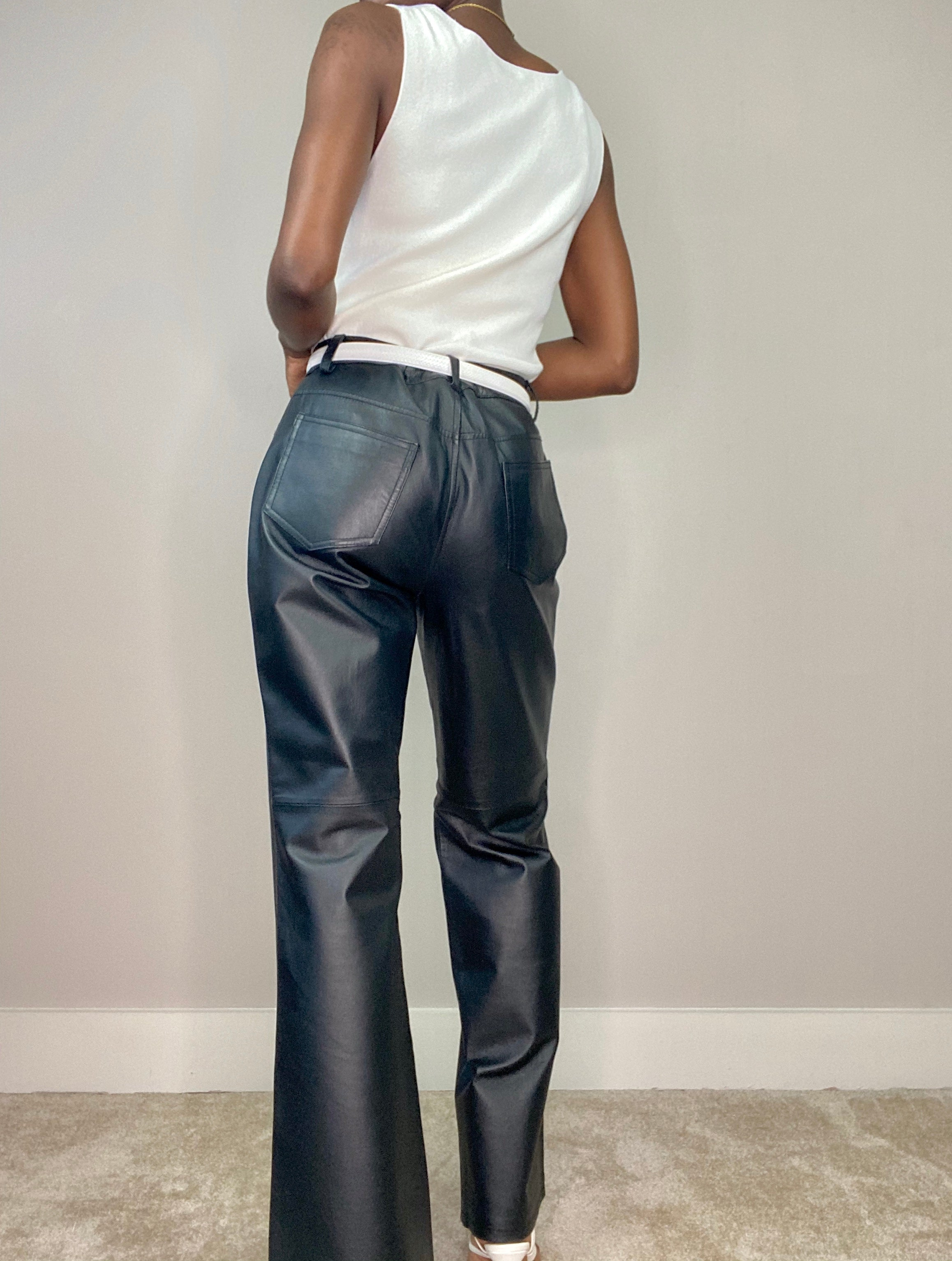 Black Flare Leather Pants