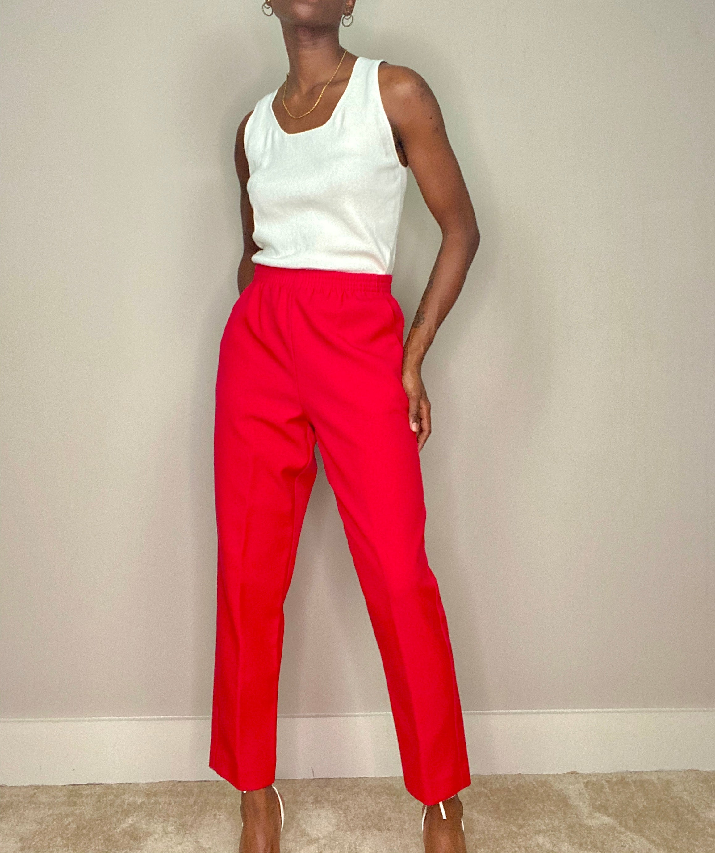 Red Elastic Waist Trouser