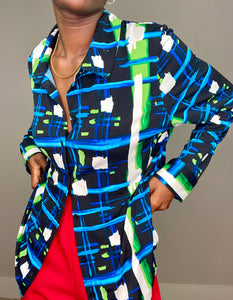 Karl Lagerfeld Paris - Bright Patterned Button Up Blouse