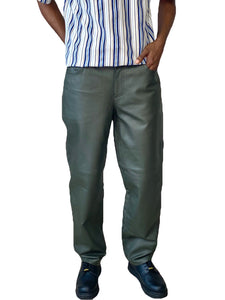 Olive Green Leather Pants - Unisex