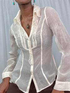 Silk Ivory Sheer Blouse