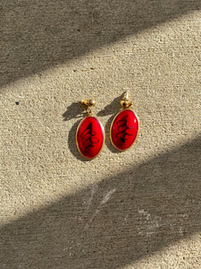 Red & Black Oval Earrings