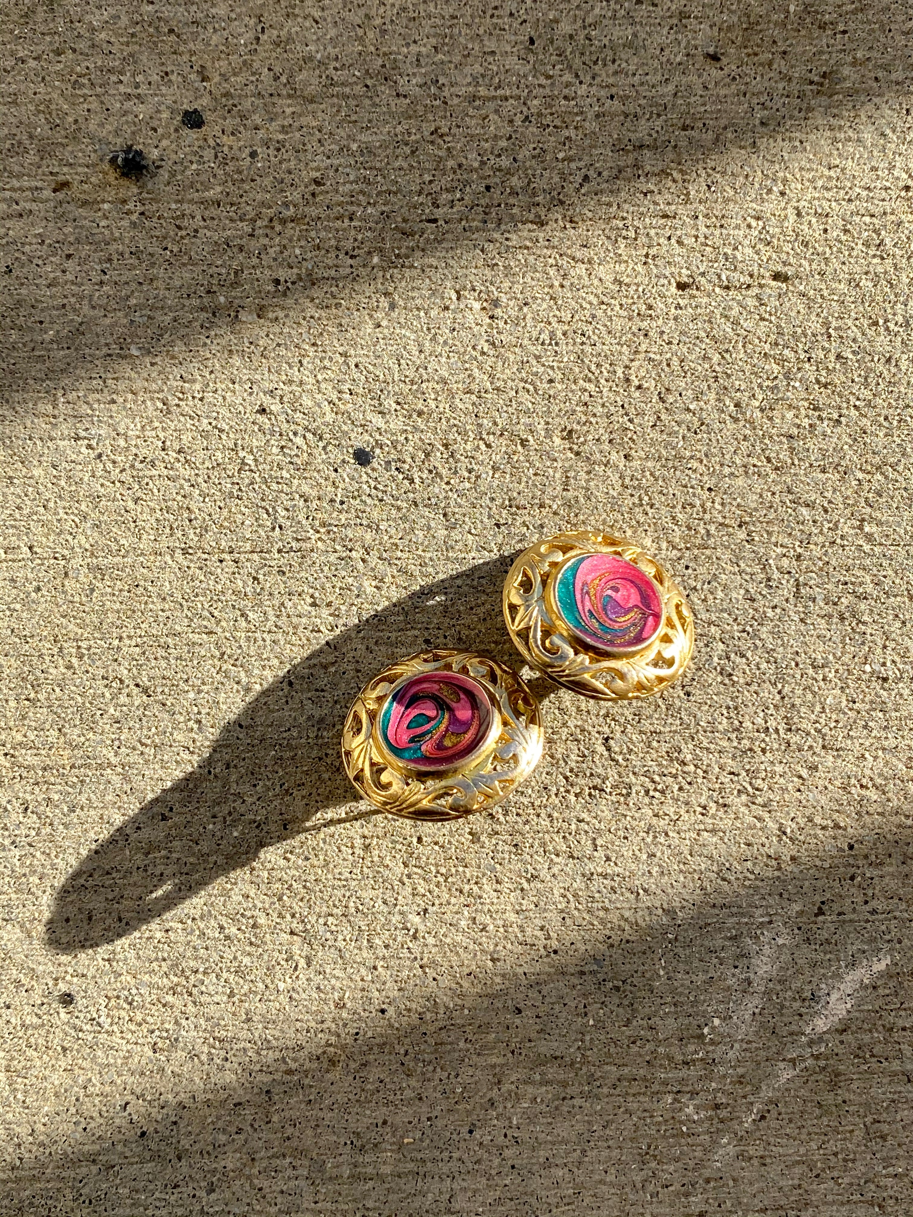 Gold Plated Earrings with carved detail & Colorful Glitter Swirl Finish
