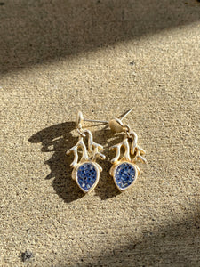 Silver Plated Blue Crystal Detailed Earrings