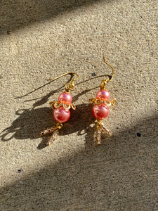 Pink & Gold Ballerina Earrings