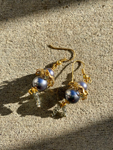 Blue & Gold Ballerina Earrings