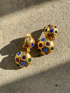 Gold Multicolored Bedazzled Clip On Earring