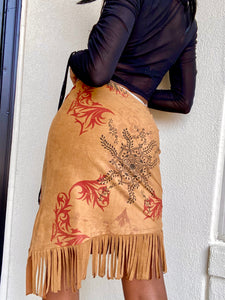 Tan Suede-Like Asymmetrical Fringe Hem Skirt