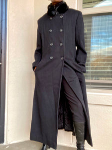 Black Cashmere/Wool Blend Long Coat