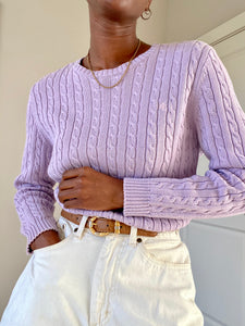 Lavender Ralph Lauren Braided-Pony Cable-Knit Sweater