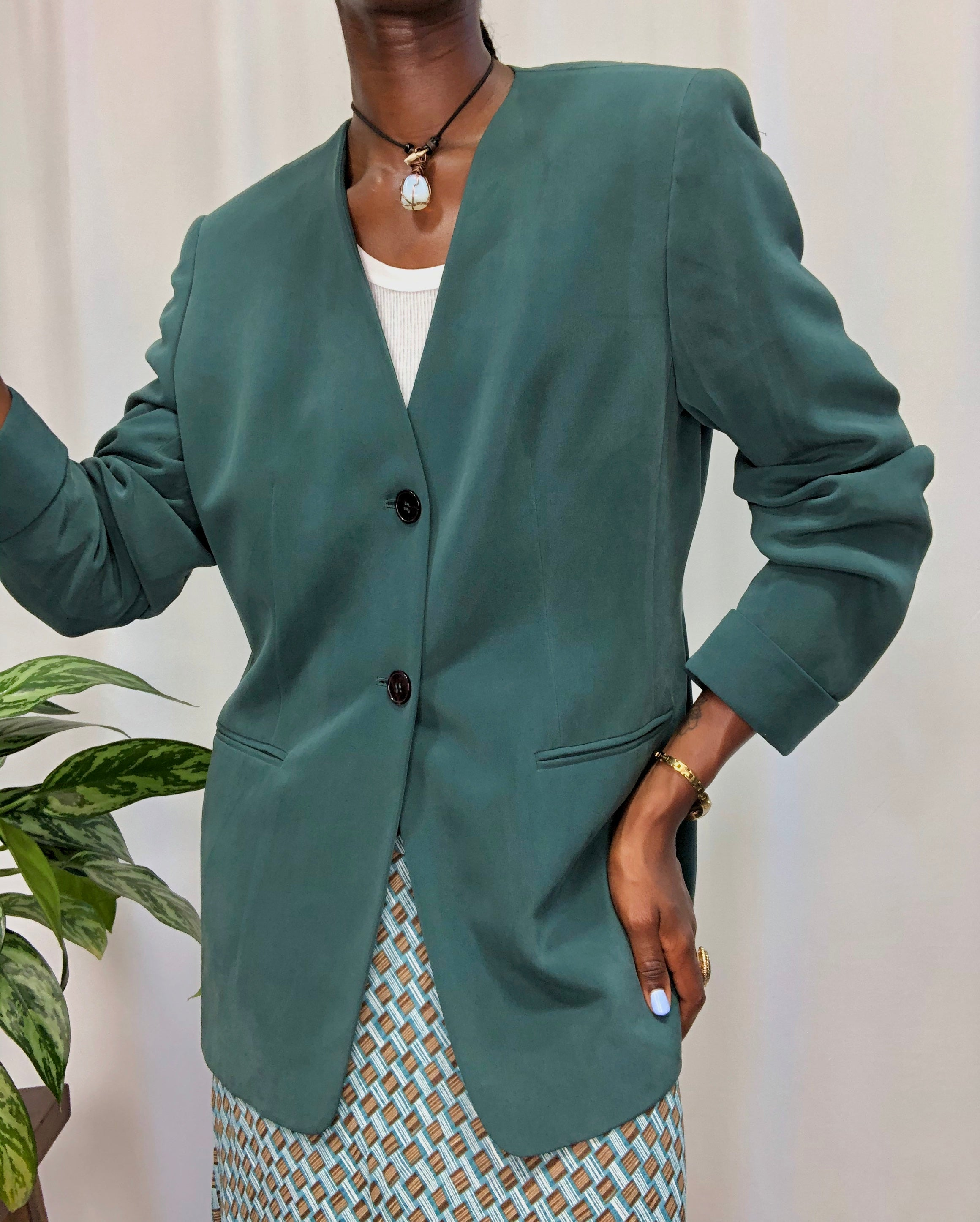 Teal Silk Blazer