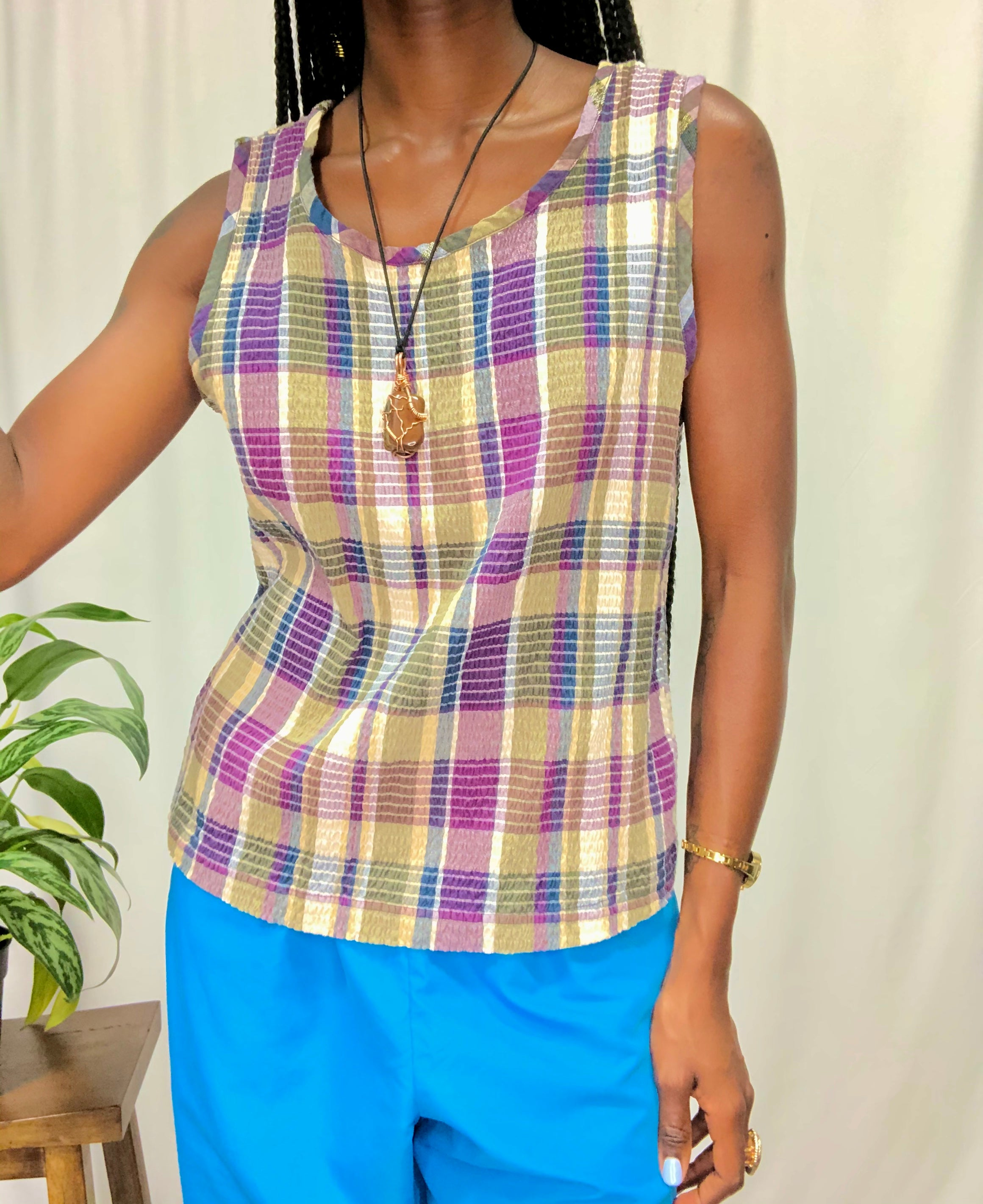 Colorful Cotton Sleeveless Blouse