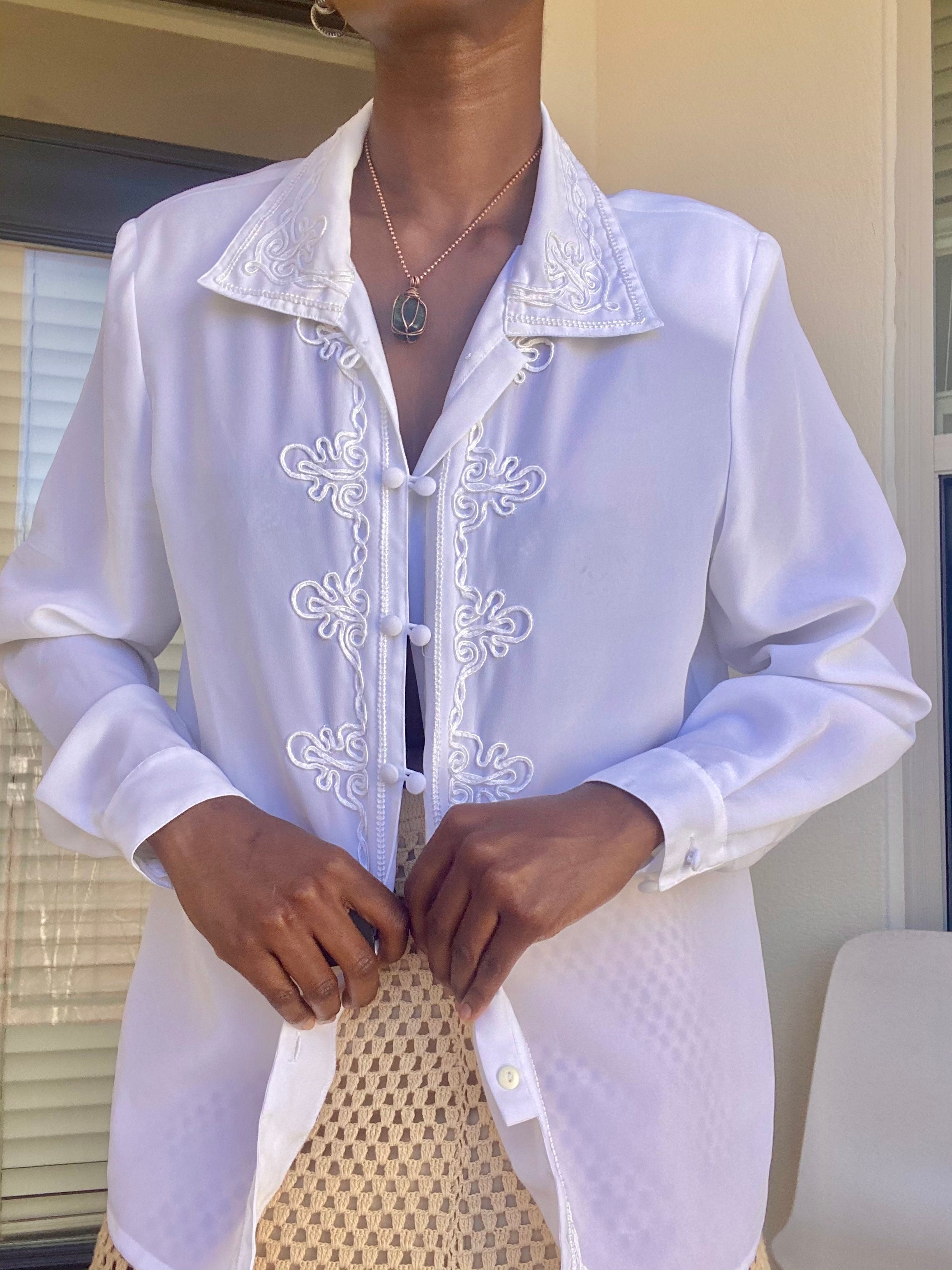 White Long Sleeve Patterned Sheer Blouse
