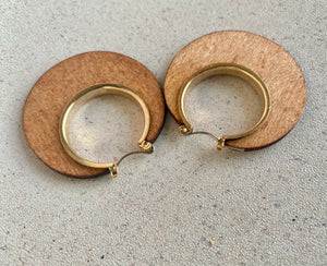 Wooden Gold Plated Hoops