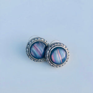 Silver Carved Colorful Marble Earrings
