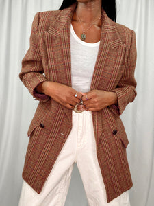 Wool Warm Toned Double Breasted Plaid Blazer