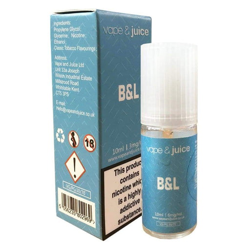 B&L tobacco eliquid flavour - B and L vape juice - Juice