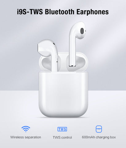 i9 TWS Bluetooth V4.2 Earphones Headset Earbuds with Magnetic Charging Case