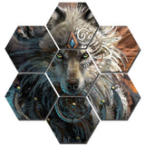 Tableau Loup Indien Hexagone | Animal Totem Shop