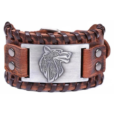 Bracelet Loup Cuir Marron | Animal Totem Shop