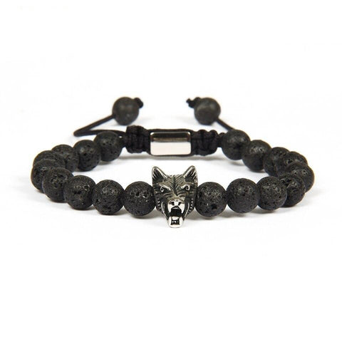 Bracelet Loup Rocher de Lave | Animal Totem Shop