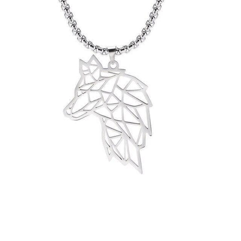 Collier Loup Symbole (Acier) | Animal Totem Shop