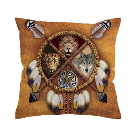 Coussin Loup Amérindien | Animal Totem Shop