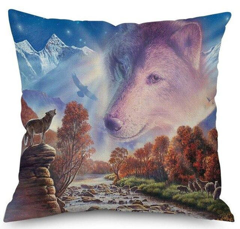 Coussin Loup Forêt | Animal Totem Shop