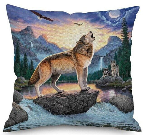 Coussin Loup Hurlement | Animal Totem Shop