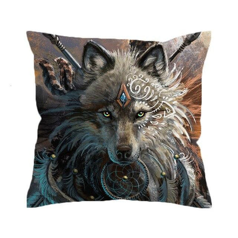 Coussin Loup Indien | Animal Totem Shop