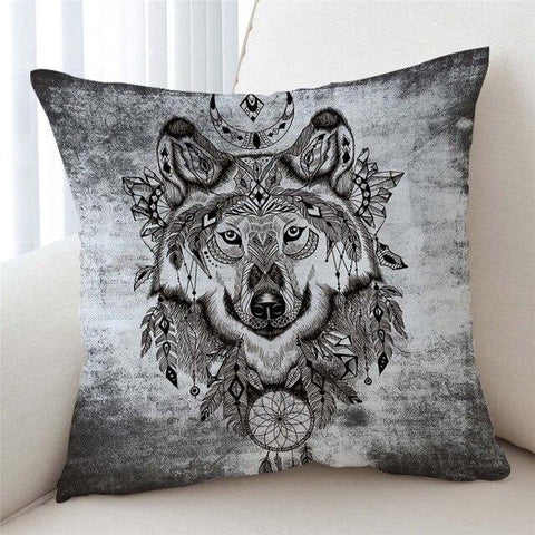 Coussin Loup Tribal | Animal Totem Shop