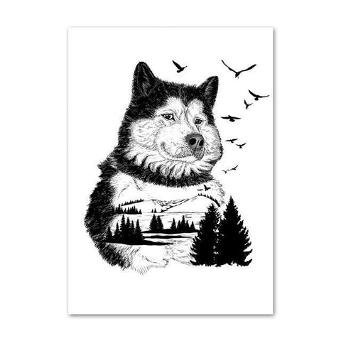 Poster Chien Loup | Animal Totem Shop