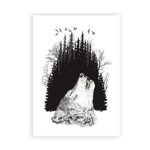 Poster Loup Hurlement | Animal Totem Shop