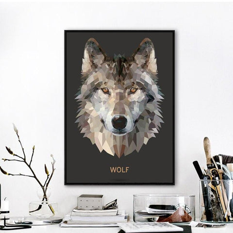 Poster Loup Origami | Animal Totem Shop
