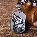 Collier Loup en Obsidienne noire | Animal Totem Shop