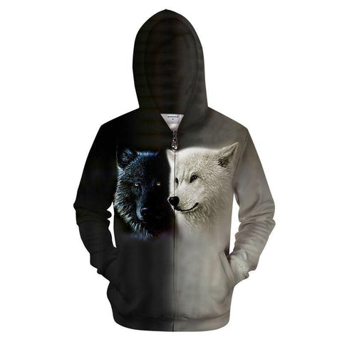 Sweat Loup à Zip | Animal Totem Shop