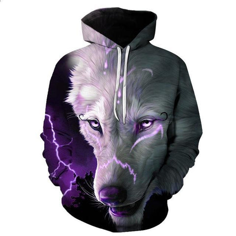 Sweat Tête de Loup Blanc Électrique | Animal Totem Shop
