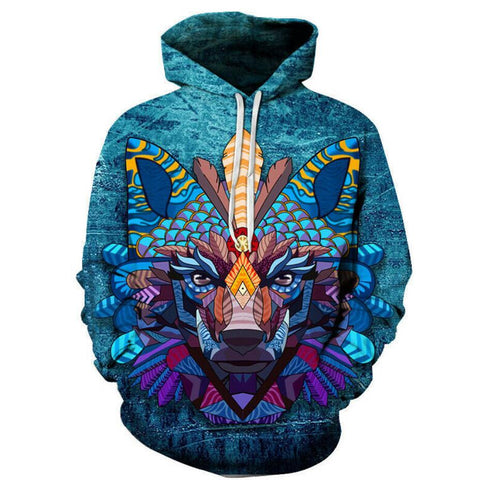 Sweat Tête de Loup Géométrique | Animal Totem Shop