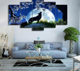 Tableau Loup Hurlant à la Lune | Animal Totem Shop