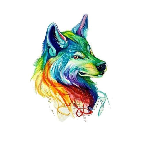 Tatouage Loup Multicolore | Animal Totem Shop
