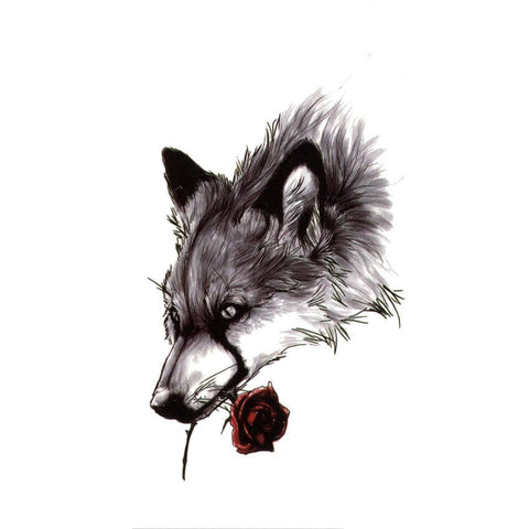 Tatouage Loup Rose | Animal Totem Shop
