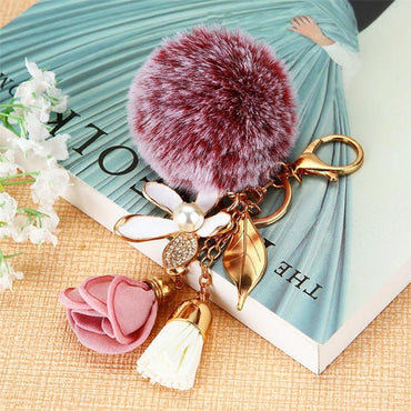 Flower Pink Pompom Heart Key Chain - Pretty Fab Things