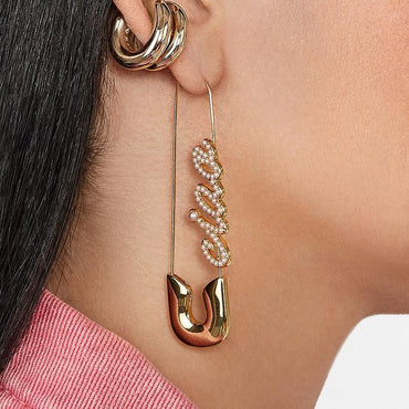 Pearl Ciao Gold Safety Pin Earrings - Pretty Fab Things