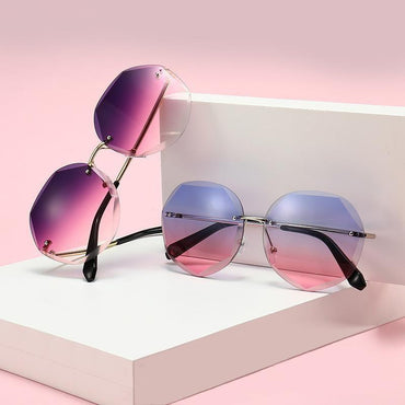 Fashionista Rimless Large Octagon Sunglasses - Pretty Fab Things